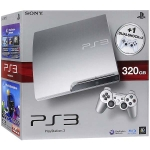 PlayStation 3 Slim (320 Гб) + 2 геймпада Dualshock 3 Wireless Controller (серебряная)
